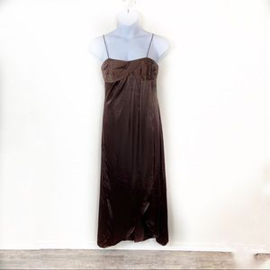 Alfred Angelo Brown Satin Spaghetti Strap Formal